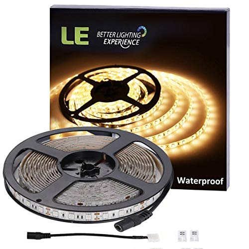 LE 16.4ft Light Strip, 300 Units SMD 5050 LEDs, 3000K Warm White, 12V Waterproof LED Tape, Outdoor Indoor Home Garden Kitchen Bar Party Christmas Holiday Festival Celebration Decoration and More by Lighting EVER