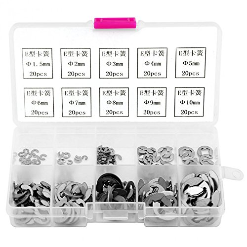 AMZVASO - 200pcs E-clips Retaining Ring Washer Stainless Steel Opening Snap Ring Washers Tools Assortment Kit Fastener Hardware -