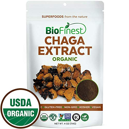 Biofinest Chaga Mushroom Extract Powder – 100 Wild Freeze-Dried Antioxidant Superfood – USDA Organic Vegan Raw Non-GMO – Boost Stamina Immunity – for Smoothie Beverage Blend 4 oz Resealable Bag