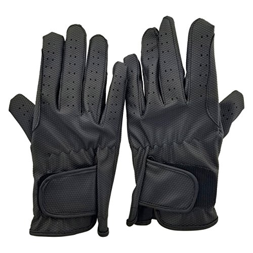 - ALLNESS INC Leather Equestrian Horse Riding Gloves for Ladies Girls Women (Medium)