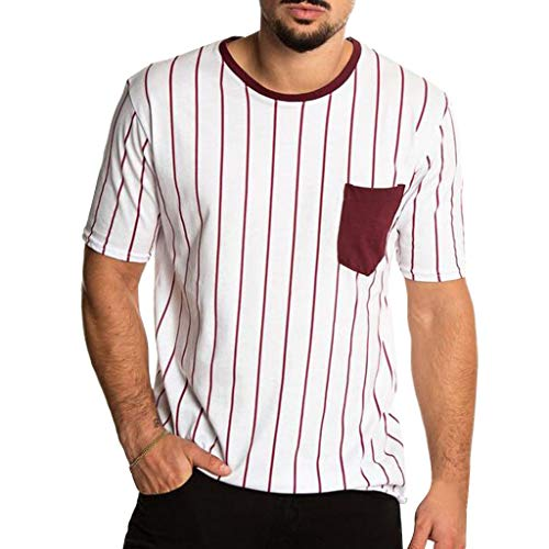 HYIRI Men's Summer Simple Pocket Striped Hippie Blouse Top Red -