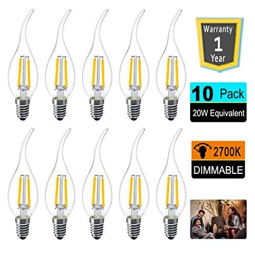 (LED Candelabra Light Bulbs 2W C35 Candle Bulb E12 Candelabra Base Chandelier Light Bulbs 20W Equivalent LED Filament Dimmable Bulb Warm White 2700K LED Light Bulbs Pendent Chandelier Lighting 10-Pack)