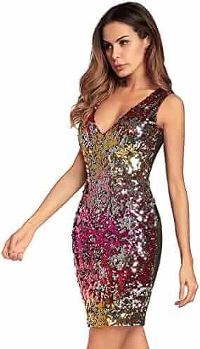 49372f05efb BOMBAX Women Sexy V-Neck Bodycon Dress Sparkly Sequin Cocktail Short Mini  Dress Gold