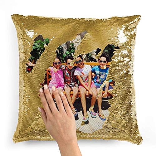 Hat Shark Custom Personalized Flip Reversible Sequin Pillow Cover Empty DIY Throw Case Decorative Home Decor with Your Personal Photo, Text, or Logo - Gift, Christmas, Birthday, Holiday (Gold) (Photo Pillow By Christmas)