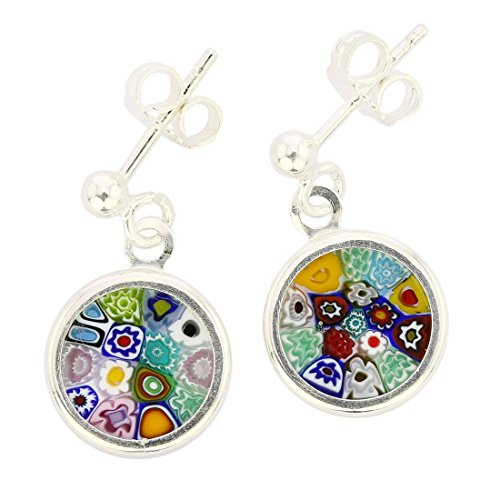 - GlassOfVenice Murano Glass Silver-Framed Millefiori Earrings