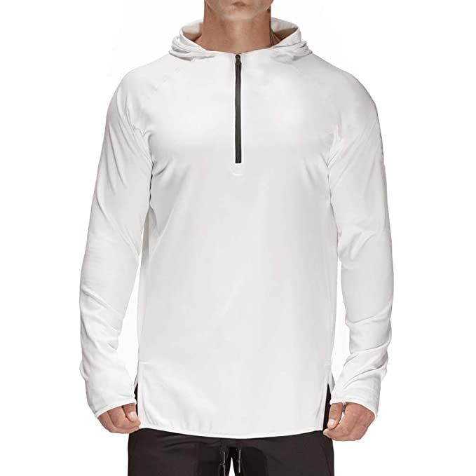 f4ce4801698 Magiftbox Men s Long Sleeve Lightweight Active Hoodie Gym Workout Hooded  Sweatshirts T12 White US-S