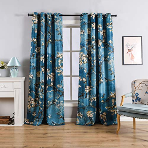 Taisier Home Chinese Style Plum Blossom Curtain Artistic Print Curtains 95 Inches Long for Living Room,Personalized Pattern Curtains Bedroom Window Treatment Curtains 2 Panels Set (Floral Teal Pattern)