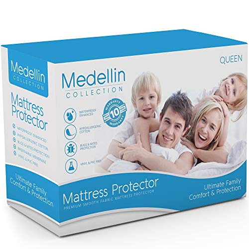 Medellin Collection Premium Hypoallergenic Waterproof Queen Mattress Protector - Vinyl Free...