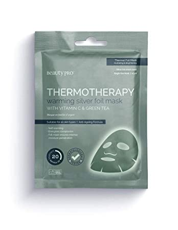 BeautyPro THERMOTHERAPY Warming Silver Foil Sheet Mask, With Vitamin C & Green Tea, Thermal