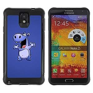 Suave TPU GEL Carcasa Funda Silicona Blando Estuche Caso de protección (para) Samsung Note 3 / CECELL Phone case / / Happy Purple Hippo /