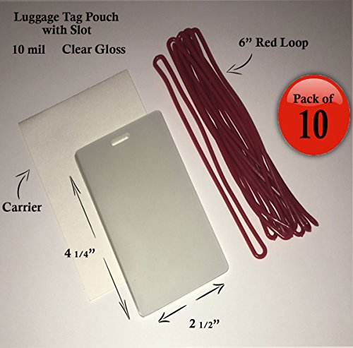 QTY: 10 - 10 mil Luggage Tag Laminating Pouch w/ slot Vertical 2 1/2