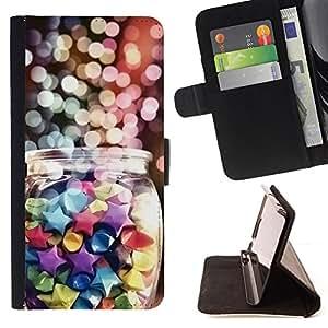 Ihec-Tech / Negro Flip PU Cuero Cover Case para HTC One M8 - Vacaciones de invierno dulces coloridos
