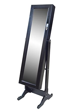 Free Standing Black Large FULL HEIGHT Bedroom Mirror Jewellery Box