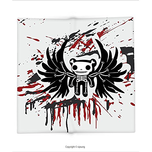 College Humor Halloween Bingo (Custom printed Throw Blanket with Halloween Teddy Bones with Skull Face and Wings Dead Humor Funny Comic Terror Design Pearl Black Ruby Super soft and Cozy Fleece Blanket)