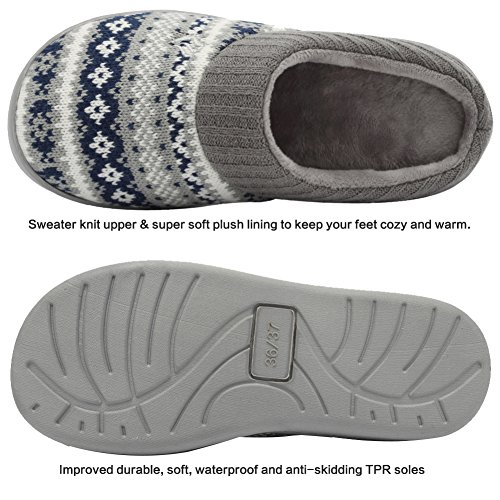 Blue Knit Ribbed Navy Hand Knit CIOR Women's Embroidered Foam Slippers Memory Pattern Fantiny House Collar and Sweater 101RwaqW