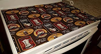 Morning Coffee Themed Stove Top / Cook Top Cover & Protector (Chocolate Brown)