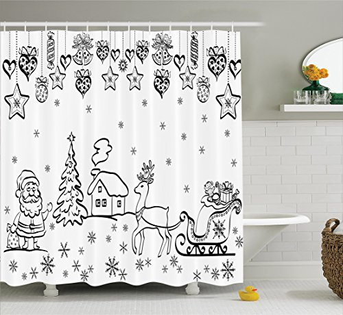 Shower Curtain, Tree Ornaments with Santa Sleigh Rudolph Reindeer Toys Jingle Bells Image, Fabric Bathroom Decor Set with Hooks, 70 inches, Black and White ()