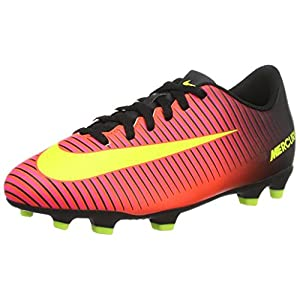 Nike Kids Boys Mercurial Vortex III FG Soccer Cleat, Crimson/Volt/Black
