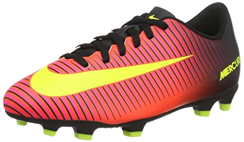 Nike Kids Boy's Mercurial Vortex III FG Soccer Cleat, Crimson/Volt/Black, Size 2.5Y