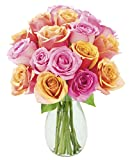 Blooms2Door Sweet Honey Bouquet of 12 Orange and Yellow Roses (Farm-Fresh, Long-Stem) with Vase