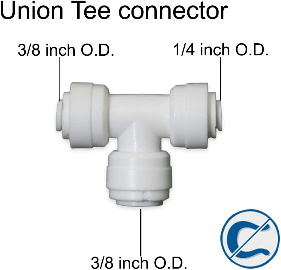 5, 3//8 Tube O.D.X1//4 Tube O.D.X3//8 Tube O.D. 5 Pack PureSec 2018 Push to Connect 1//4-inch 3//8-inch Plastic Union Tee Connector Quick Fittings for RODI System