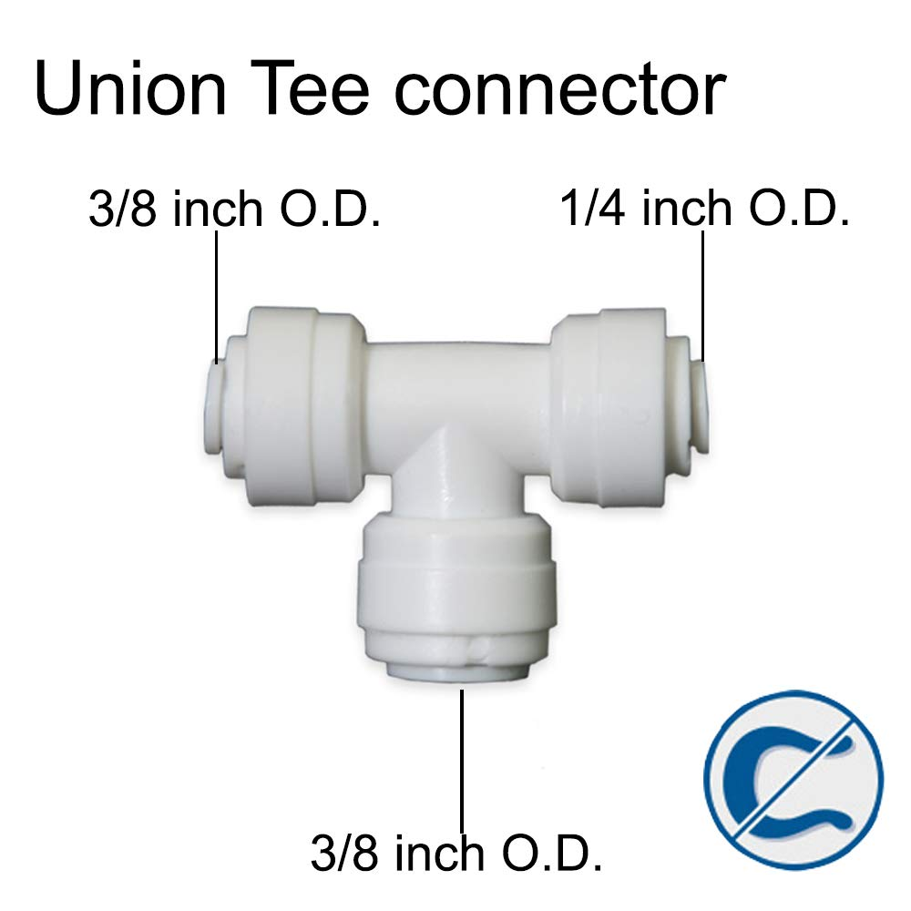 5, 1//4 Tube O.D.X3//8 Tube O.D.X3//8Tube O.D. PureSec 2020 Union Tee Connector 1//4-inch to 3//8 inch Push to Connect Plastic Quick Fitting for Water Purification/&RO System