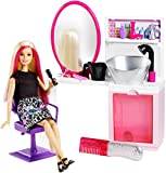 Barbie Sparkle Style Salon and Blonde Doll Playset, Multi Color
