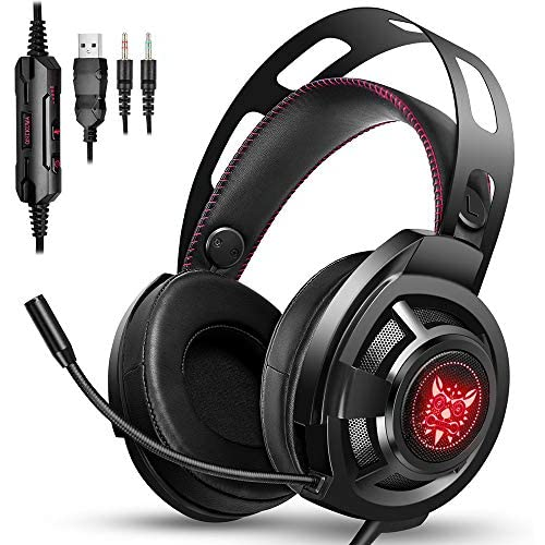 ONIKUMA Gaming Headset [New Version] for PS4,Xbox One, Noise Cancelling Over-Ear Headphones with Mic, Stereo Bass Surround & RGB LED Light, Soft Memory Earmuff for PC Laptop Mac Nintendo Switch Games