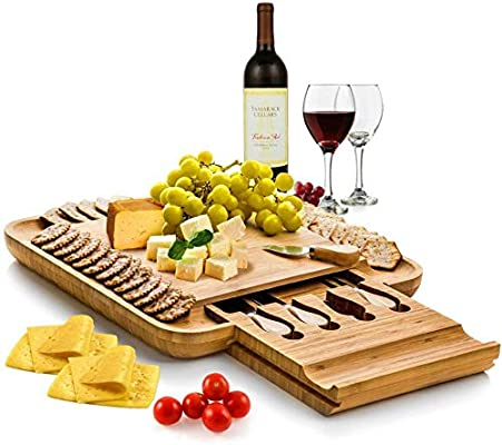 Christmas Cheese Board Ideas.Bambusi Premium Bamboo Cheese Board Set Wooden Charcuterie Platter Serving Tray With Cutlery Set Perfect For Birthday Housewarming Wedding