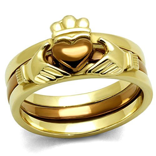 Womens Brown Ion Plated - Eternal Sparkles Womens Ion Plated Gold & Brown Stainless Steel Claddagh Heart Stacking Ring Set
