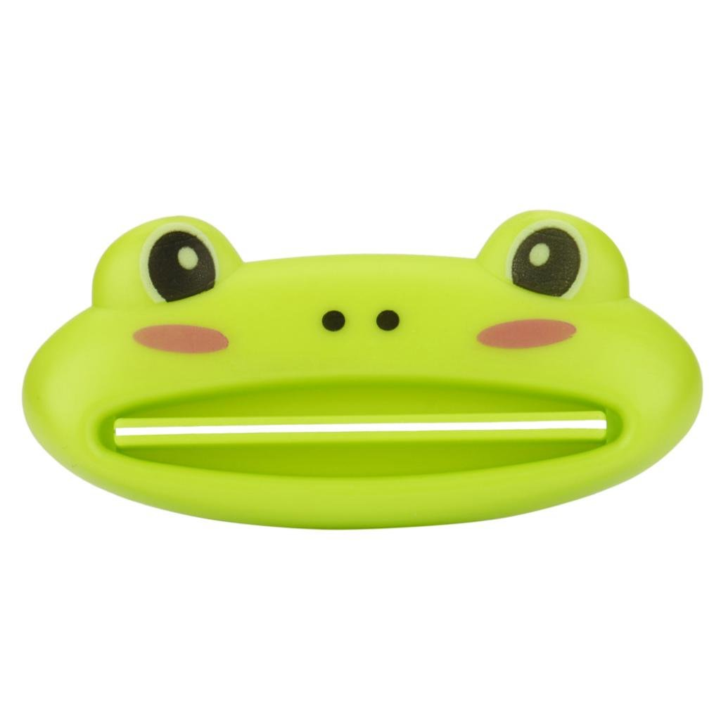 SUKEQ Cute Animal Frog Cat Panda Pig Shaped Toothpaste Cream Squeezers Bathroom Tube Rolling Toothpaste Dispenser (Frog)