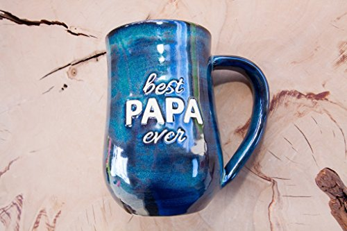 Best Papa Ever Handmade Coffee Pottery Mug (Sand White Pottery Through)