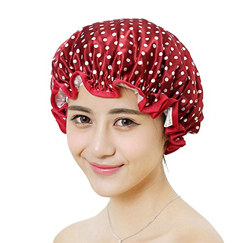 Women Shower Cap,Waterproof Polka Dot Double Layer Elastic Bathing Cap (Wine Red Dots)