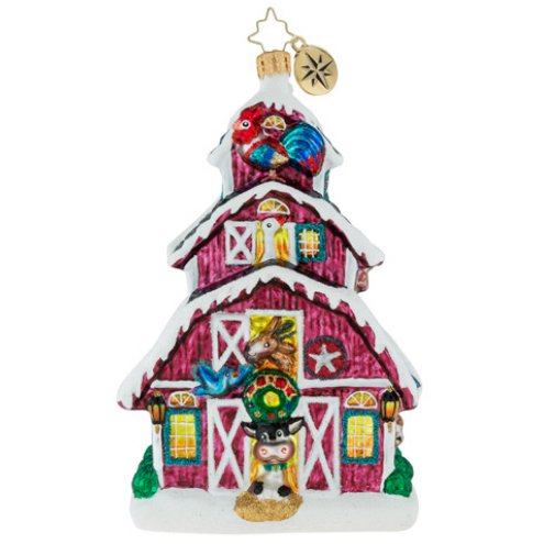 Christopher Radko Making Hay Barn With Farm Animals Themed Glass Ornament