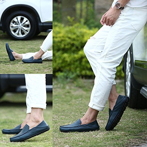 Go-tour Heren Premium Lederen Casual Slip Op Loafers Ademende Rijschoenen Fashion Slipper A-blue