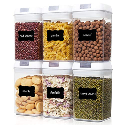 Airtight Food Storage Containers, Vtopmart 6 Pieces BPA Free Plastic Cereal Containers with Easy Lock Lids,for Kitchen Pantry Organization and Storage,Include 24 Chalkboard Labels and 1 Marker ()