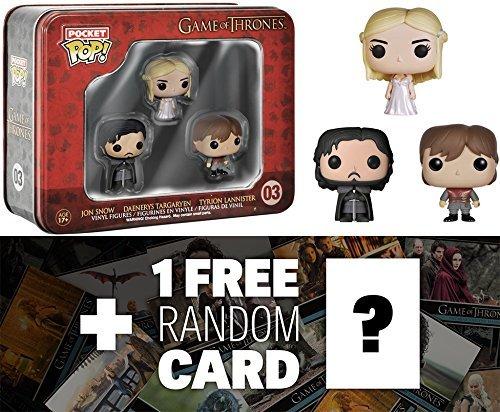 Jon Snow, Daenerys Targaryen, Tyrion Lannister Tin Boxset: Pocket POP! x Game of Thrones Vinyl Figure + 1 FREE Official Game of Thrones Trading Card Bundle
