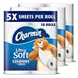 Charmin Ultra Soft Toilet Paper, Family Mega Roll with Cushiony Touch (5x More Sheets*), 18 Count