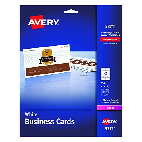 Avery Laser 2 x 3 1/2 Inch White Business Cards 250 Count (5371) (Business Card Printing)