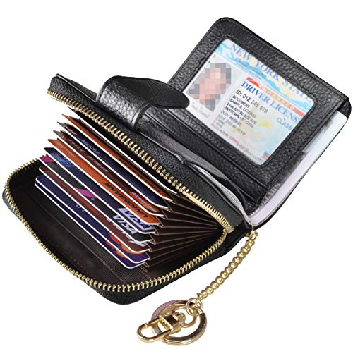 Beurlike Women's RFID Credit Card Holder Organizer Case Leather Security Wallet Upgrade A (10 Accordion/Key Ring) - Black