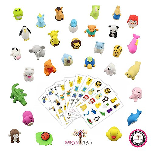 llectible Set of Adorable Japanese Style Novelty Erasers - Amazing Variety with No Duplicates - Puzzle Toys Best for Party Favors w/ Bonus 120 Collectible Animal Stickers (Cool Collectibles)
