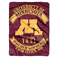 """The Northwest Company Officially Licensed NCAA Minnesota Golden Gophers Rebel Royal Plush Raschel Throw Blanket, 60"""" x 80"""", Multi Color"""