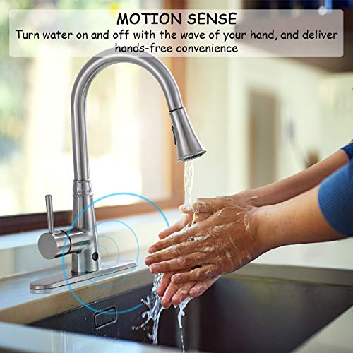 Giantex Pull-Down Kitchen Faucet Motion Sense Touchless Dual Sprayer Single Handle Hot Cold Water Mixer Rotatable High Arc (Metal Wire-Drawing) by Giantex (Image #2)