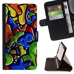 For Samsung Galaxy Note 3 III Case , Números Coloridos cartas para niños- la tarjeta de Crédito Slots PU Funda de cuero Monedero caso cubierta de piel