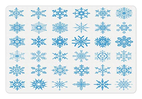 Lunarable Snowflake Pet Mat for Food and Water, Freeze Snow Winter New Years Eve Christmas Pattern Symmetric Print, Rectangle Non-Slip Rubber Mat for Dogs and Cats, Deep Sky Blue and White