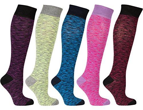Socks n Socks-Women 5-Pairs Luxury Cotton Colorful Cool Fun Knee high Socks