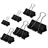 DSTELIN Binder Clips Paper Clamps Assorted Sizes 100 Count (Black), X Large, Large, Medium, Small, X Small and Micro, 6…
