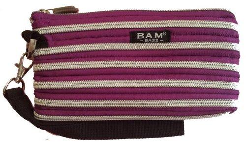 BAM Bags Women's Wristlet/Make-up Bag Nylon Plum & Silver One Size - Bam Bags Handbag
