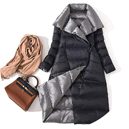 (Jacket Women Casual Both Sides Duck Down Coat Long Sleeved Long Black Warm Parkas,1,S)