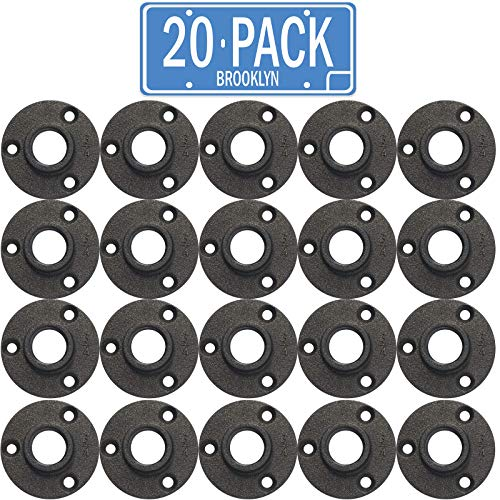 """Brooklyn Pipe Flange - 20 Pack 3/4"""" Black Floor Flange Cast Iron Pipe Fittings 